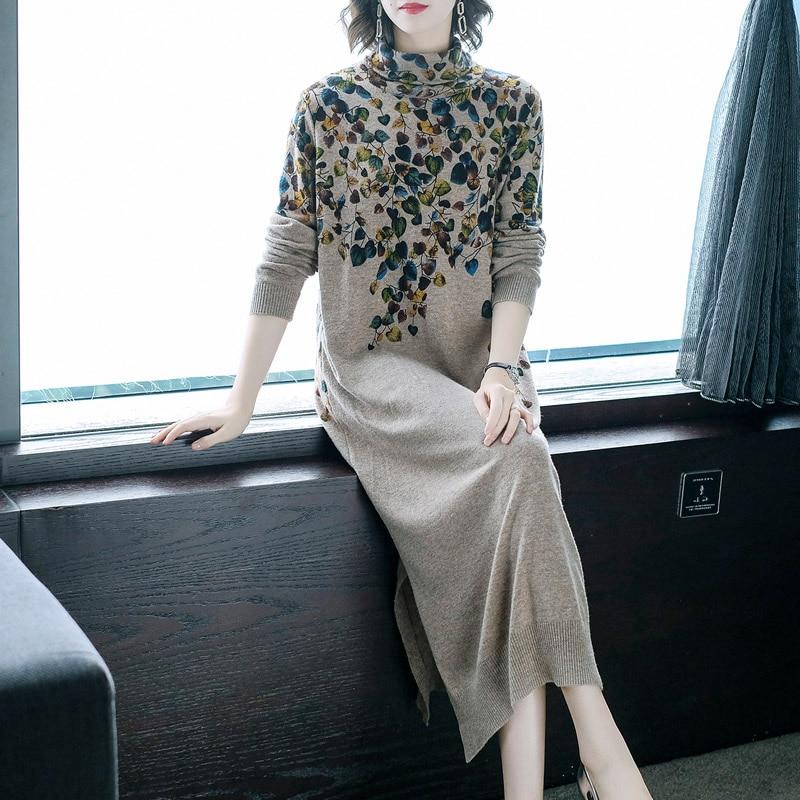 New Women Sweater Dress Half Turtleneck Long Sleeve Print Knitting Dress High Quality Female Straight Winter Knitted Dresses 2