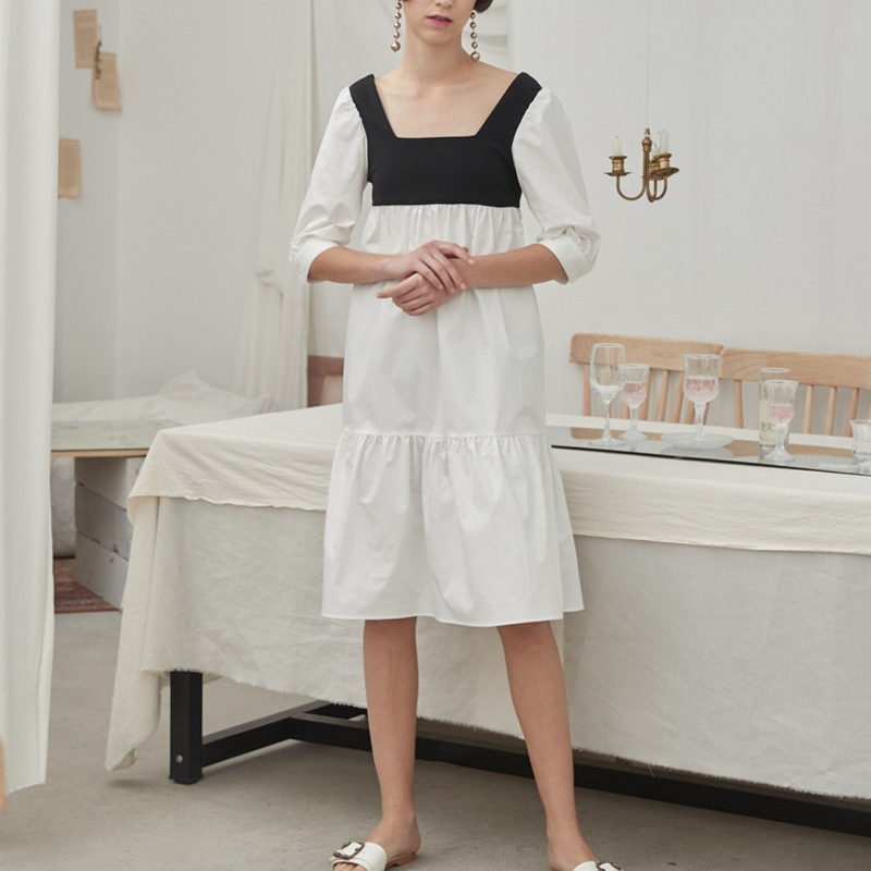 DEAT 19 new summer fashion women clothes White contrast colors Black Square collar half sleeves dress WF15300L 2