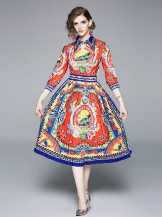 Half regular sleeve pleated bohemian turn-down collar summer vintage elegant casual party dress