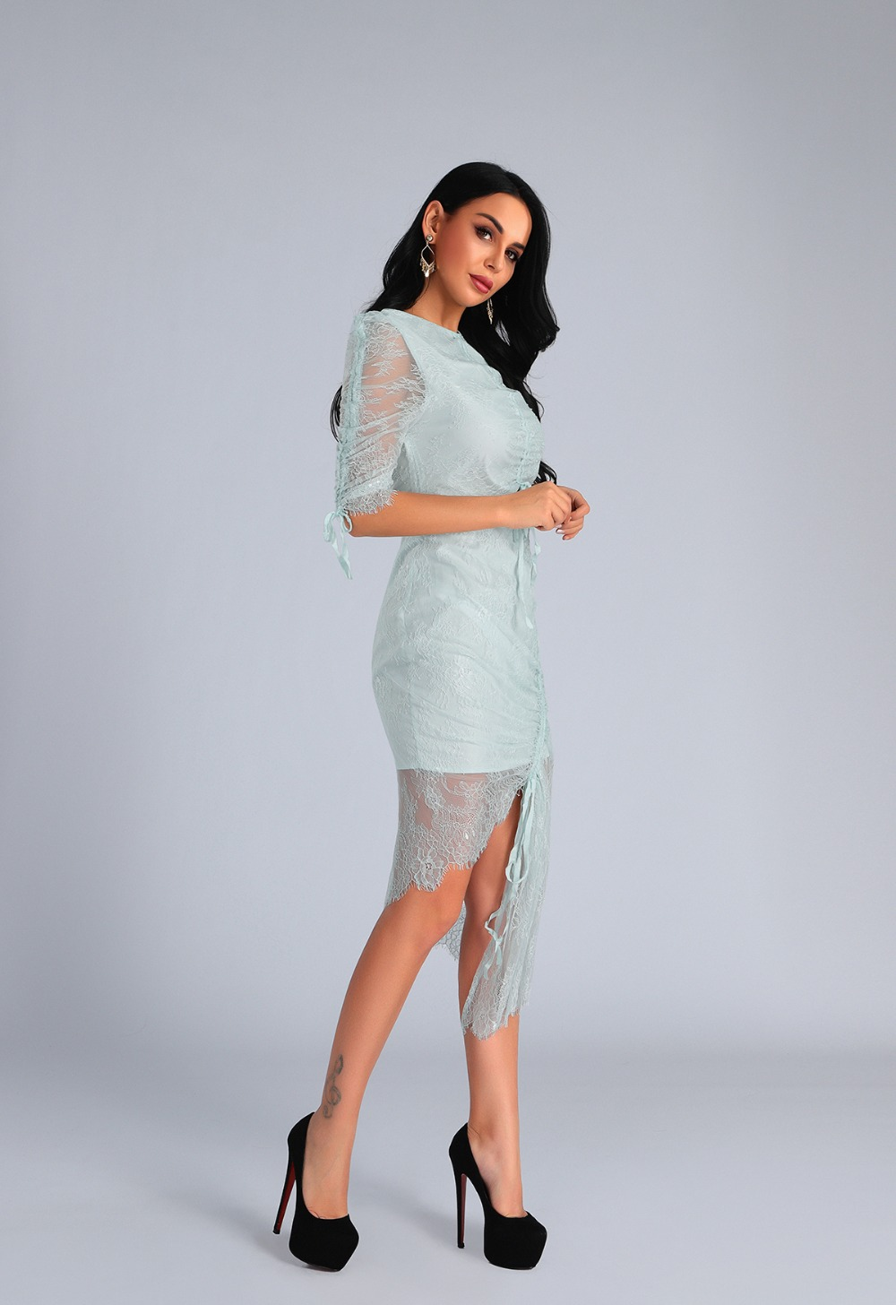 High Quality Light Blue O-Neck Half Lace Sleeve Bodycon Dress Fashion Party Elegant Dress 2