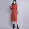 18 Women Autumn Winter Sweater Dress new Slim half Turtleneck Long Sleeve Sexy Lady Bodycon Robe Lace Knitted Dresses Vestidos