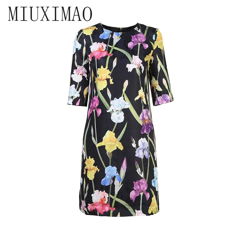 18 Autumn New Arrival Europe Style O-Neck Half Sleeve Straight Flower Pattern Print Knee-Length Elegant Dress Women 1