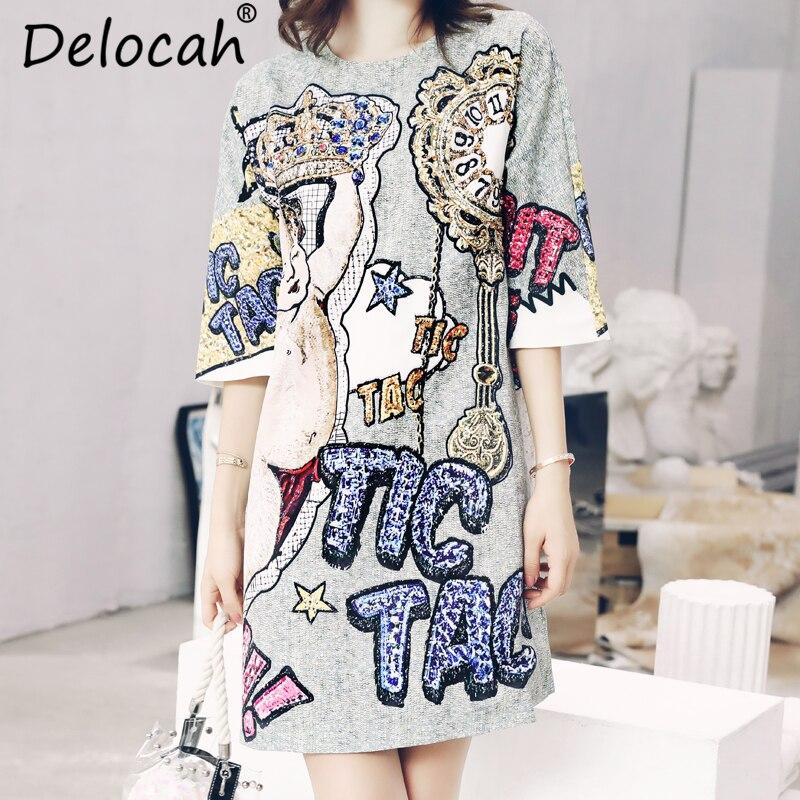Delocah Autumn Women Dress Runway Fashion Designer Half Sleeve Gorgeous Beading Angel Letter Printed Mini Straight Dresses 1