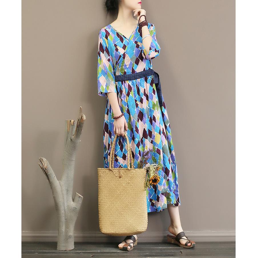 Spring Autumn Geometric Printing Dress Half Sleeve Sexy V Neck Dress Loose Long Dress 3