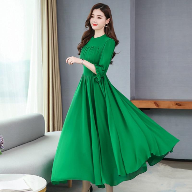 ALABIFU Summer Dress Women  Elegant Chiffon Long Ball Gown Dress Fashion Slim Half Sleeve Dresses Women vestidos Plus size 3