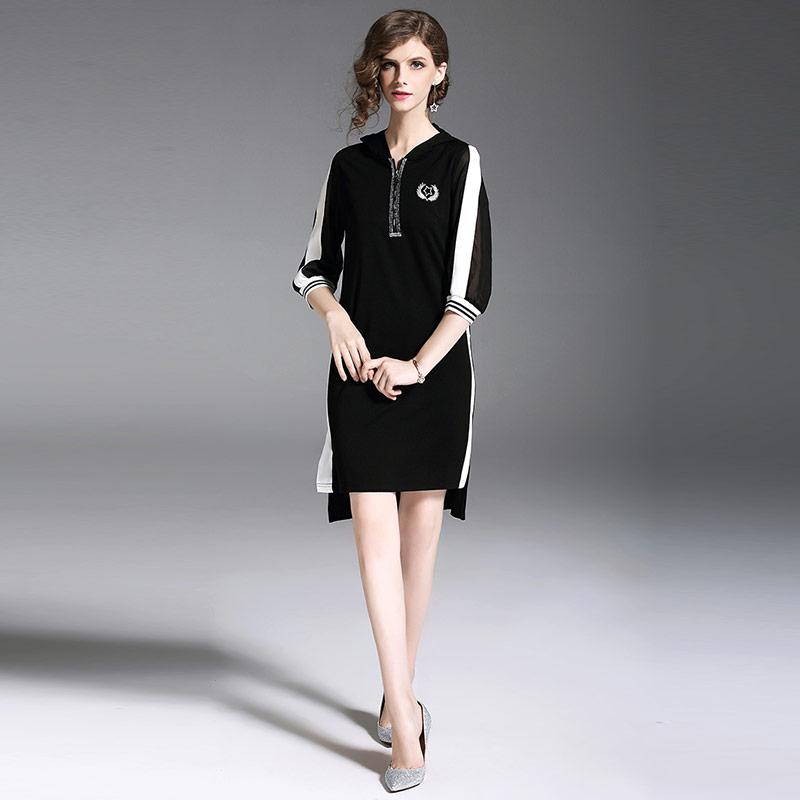 Willstage 18 Autumn Black Dresses Half sleeve Elegant Irregular Dress with hoodies Women Striped Patchwork Casual Vestidos 3
