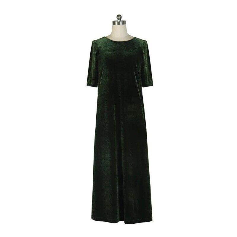 19 New women Spring Autumn women half sleeve long velvet dress,Plus size M-6XL 7XL office velour dress Vintage Vestidos 3