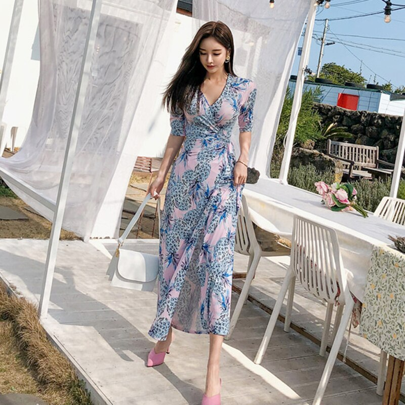 19 Summer Beach Long Dress Pineapple Print Women Boho V-neck Half Sleeve Dress Sexy Bandage Long Dresses