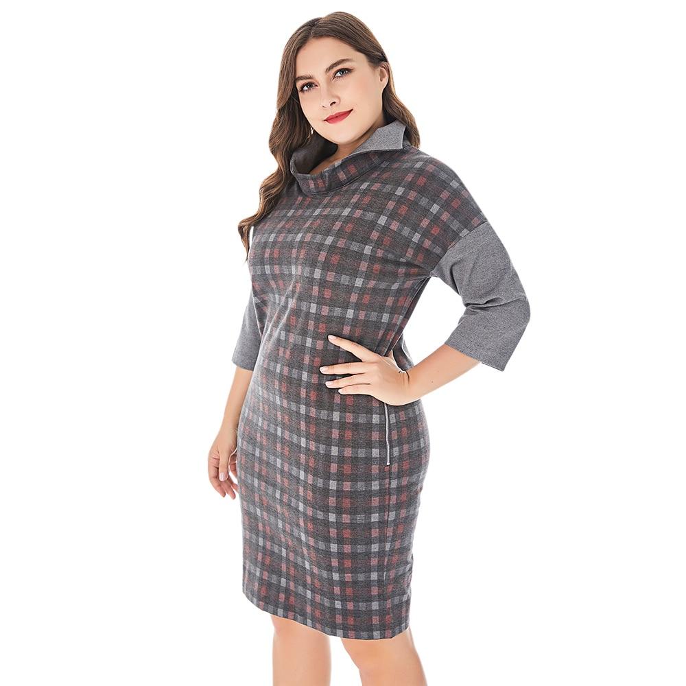 Spring Women Plus Size Spliced Plaid Dress Stand Collar Half Sleeve Elegant Straight Dresses Women Autumn Workwear Midi Dress 2