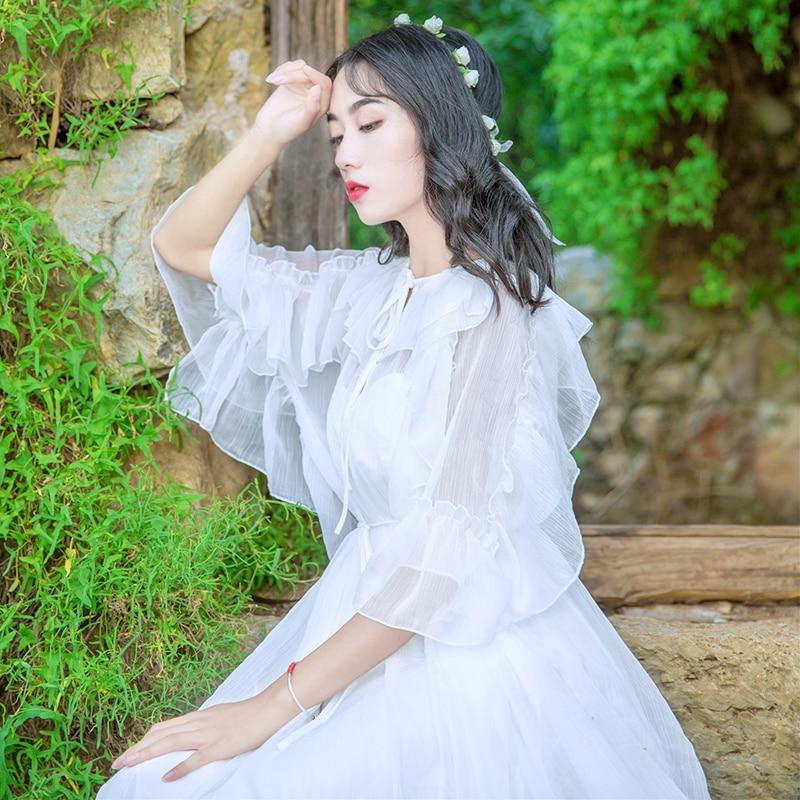 Women New Fashion Fairy White Dress Lace-up Collar Ruffles Half Sleeve Chiffon Long Dress Vestidos Mujer Robe Femme 19 1