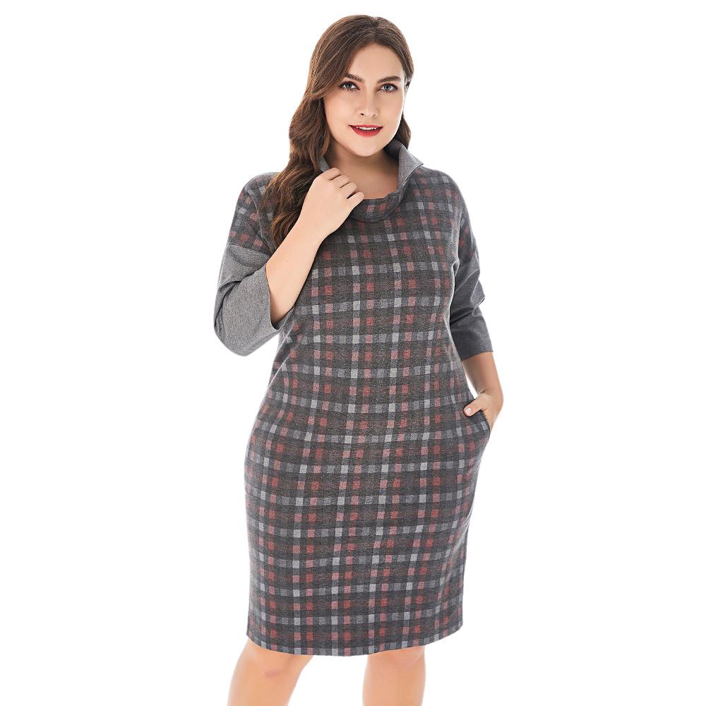 Spring Women Plus Size Spliced Plaid Dress Stand Collar Half Sleeve Elegant Straight Dresses Women Autumn Workwear Midi Dress 3