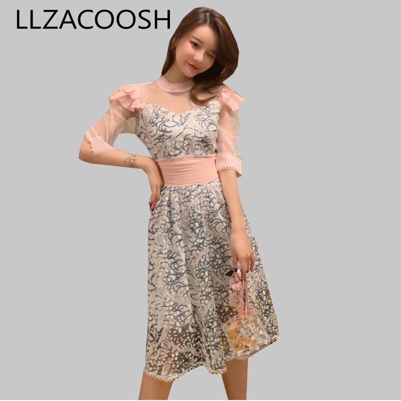 New Fashion Women Party Dress 19 Runway Summer Sweet pink mesh Patchwork half Sleeve Dress Embroidery Floral Midi Dresses 1