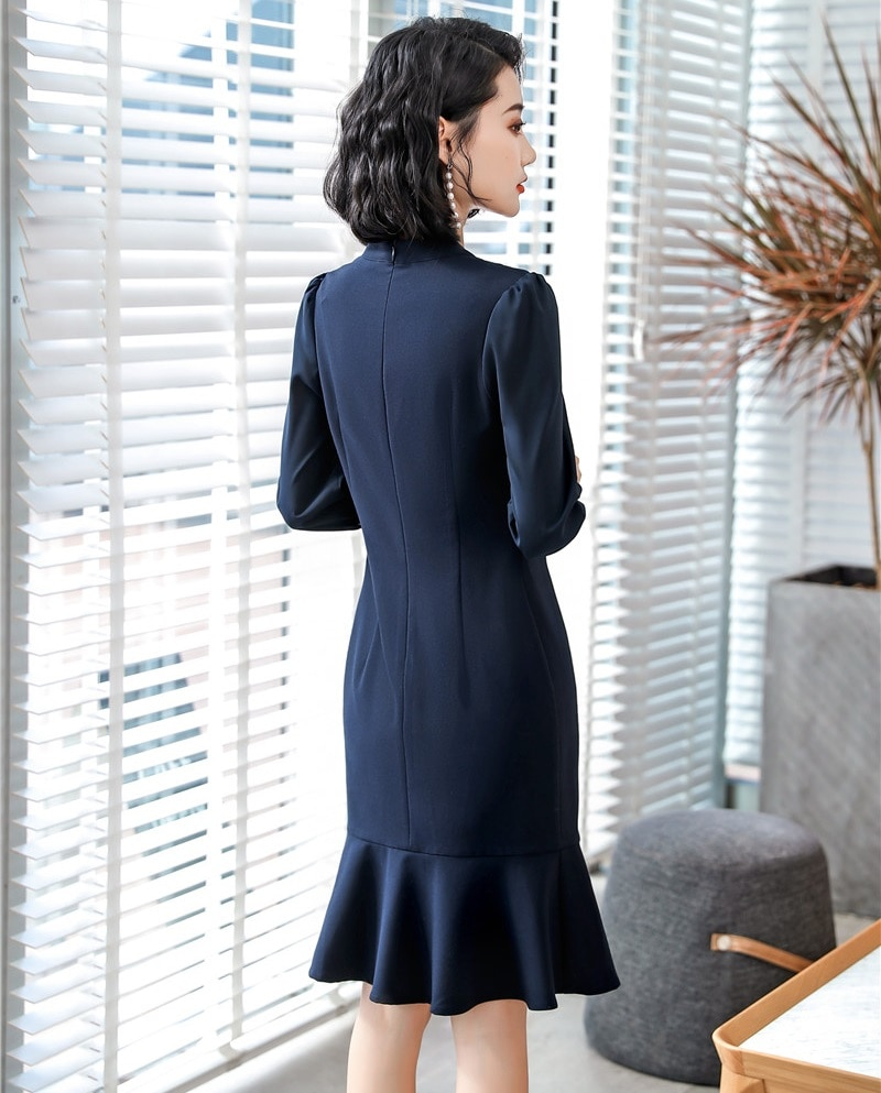 Formal OL Styles Half Sleeve Middle Long Business Women Dress Office Ladies Work Wear Summer Dresses Slim Hips Female Vestidos 3