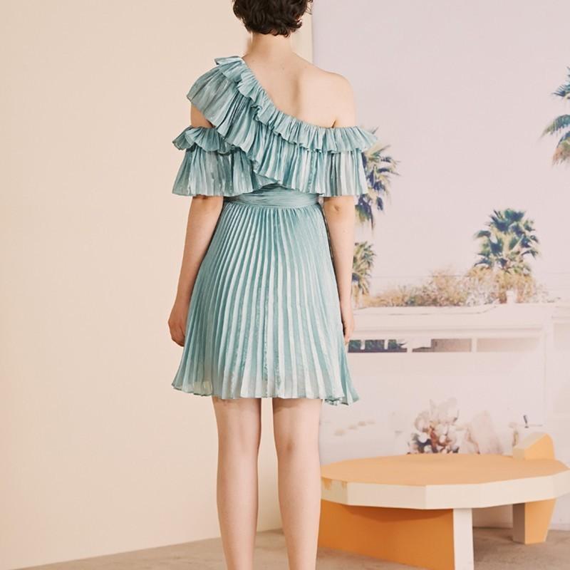 CHICEVER Blue Casual Solid Ruffles Women Dress Off Shoulder Half Sleeve High Waist Mini Pleated Dresses Female Fashion 19 New 3