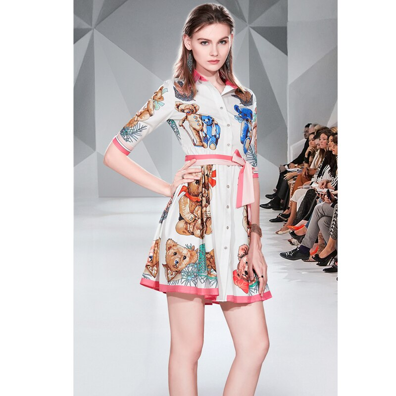 19 Summer New Women Sweet Bear Cartoon Print Dress A-Line Mini Shirt Dress Turn Down Collar Half Sleeve Casual Elegant Dresses 2