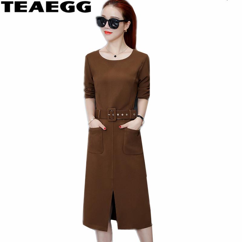 TEAEGG New Half Sleeve Autumn Winter Dresses Women 19 High Quality Casual Ladies Dresses Large Sizes Woman Dress Robe AL481 1