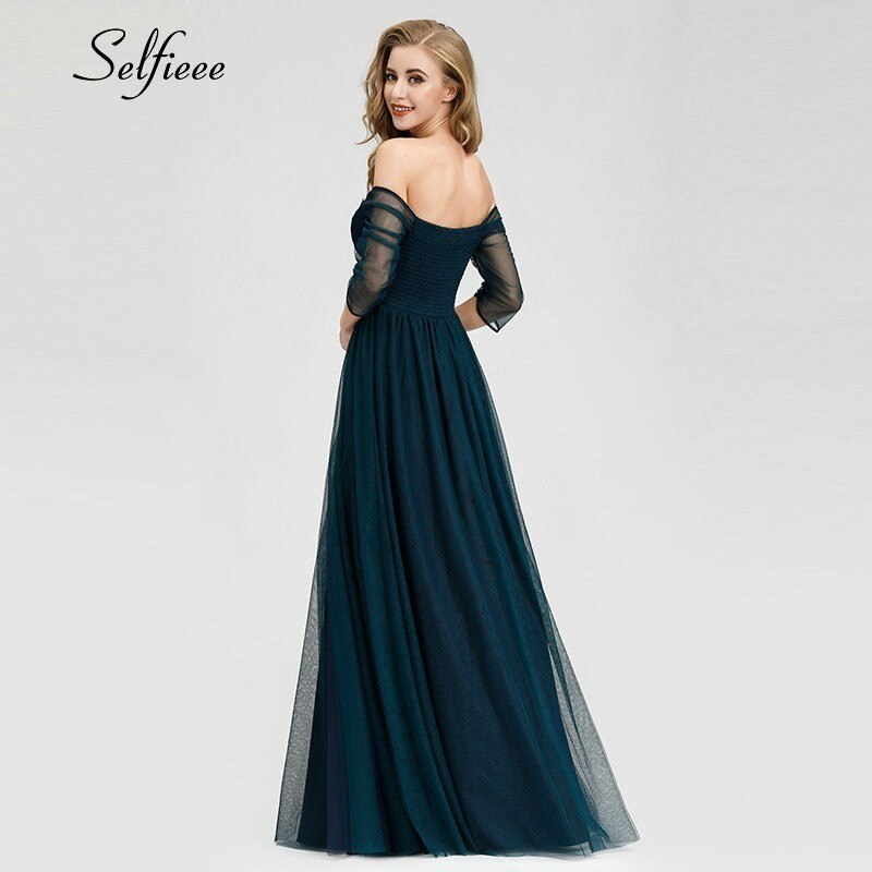 Elegant Long Women Dresses A-Line Solid Color Half Sleeve V-Neck Ladies Summer Maxi Dresses 19 Vestidos De Fiesta De Noche 2
