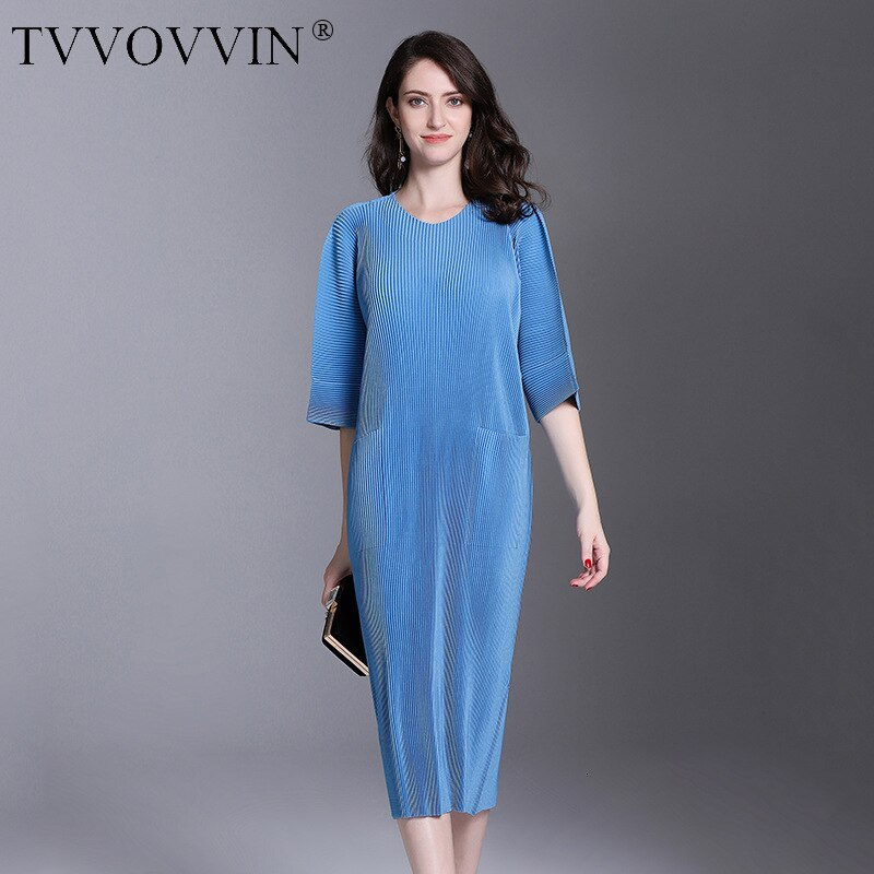 Autumn And Winter Pleats Loose O-neck Half Sleeve Double Pockets Elastic Dress Female's Personality Cloth Vestido D052 1