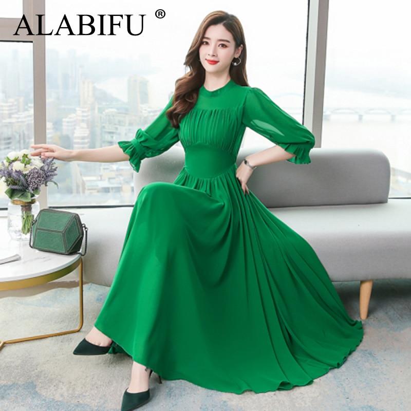 ALABIFU Summer Dress Women  Elegant Chiffon Long Ball Gown Dress Fashion Slim Half Sleeve Dresses Women vestidos Plus size 1