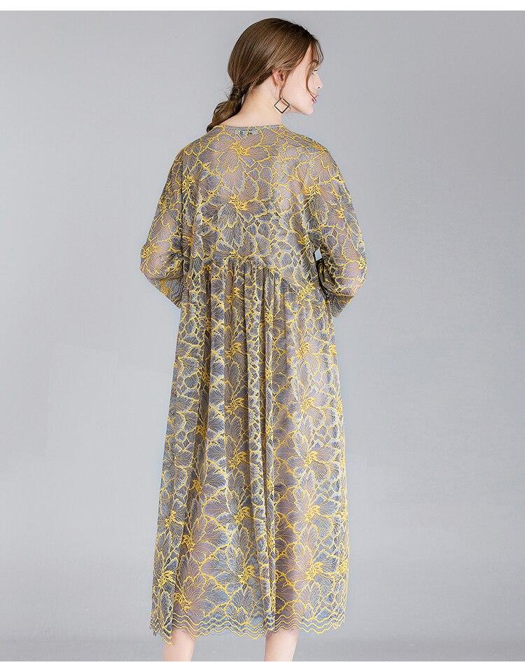ladies lace long dress elegant party dressEmpire longos vestidos plus size half sleeves loose fit two pieces dress de festa 4XL 2
