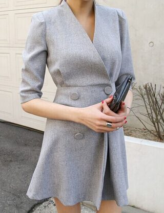 spring women work OL temperament dress simple double-breasted V-neck dress solid color half sleeve dress