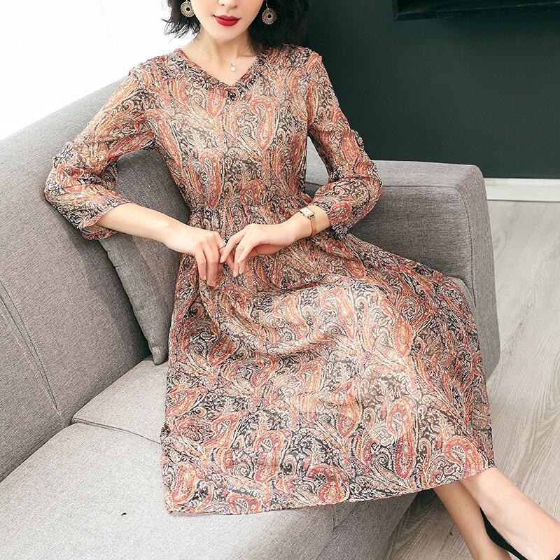 19 New Women's Clothing Spring Summer Fashion Flowers Printing V-neck Dress Half Sleeves Rayon Chiffon Dresses Female 3