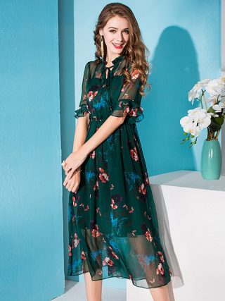 100% Silk Dress Women Printed Tie O Neck A-line Half Flare Sleeves Elastic Waist Long Dress New Fashion Spring 19