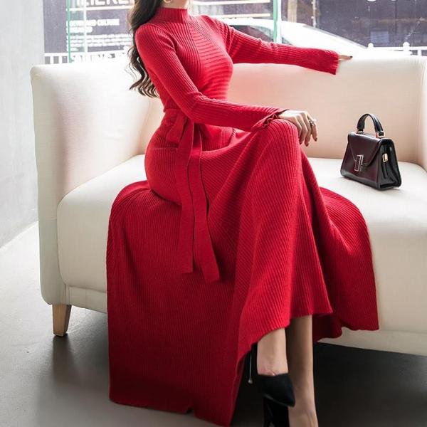 women temperament fashion knit dress flare sleeves half high collar long sleeve sweater dress big swing a-line slim dress