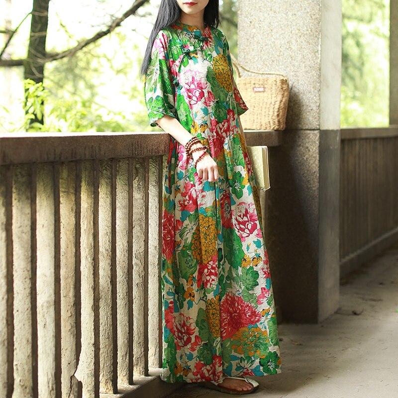 Hisenky 19 Mori Girl Half Sleeve Mandarin Collar Vintage Dress Plus Size Summer Maxi Dresses Long Women Dress Loose Vestidos 2