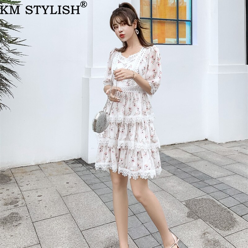 Australian Court Style Lady Casual Print Lace Stitch Cutout Half Sleeve High Waist Thin Layer Cake One-piece Dress 1