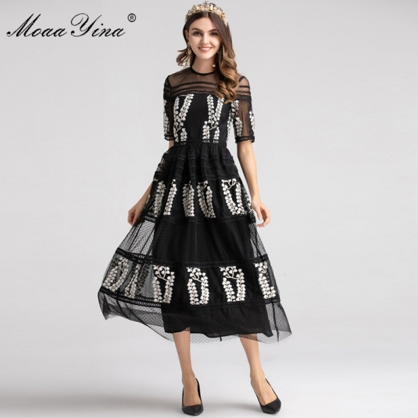 MoaaYina Fashion Designer Runway dress Spring Women Dress Half sleeve Mesh Embroidery Floral Black Elegant Ball Gown Dresses