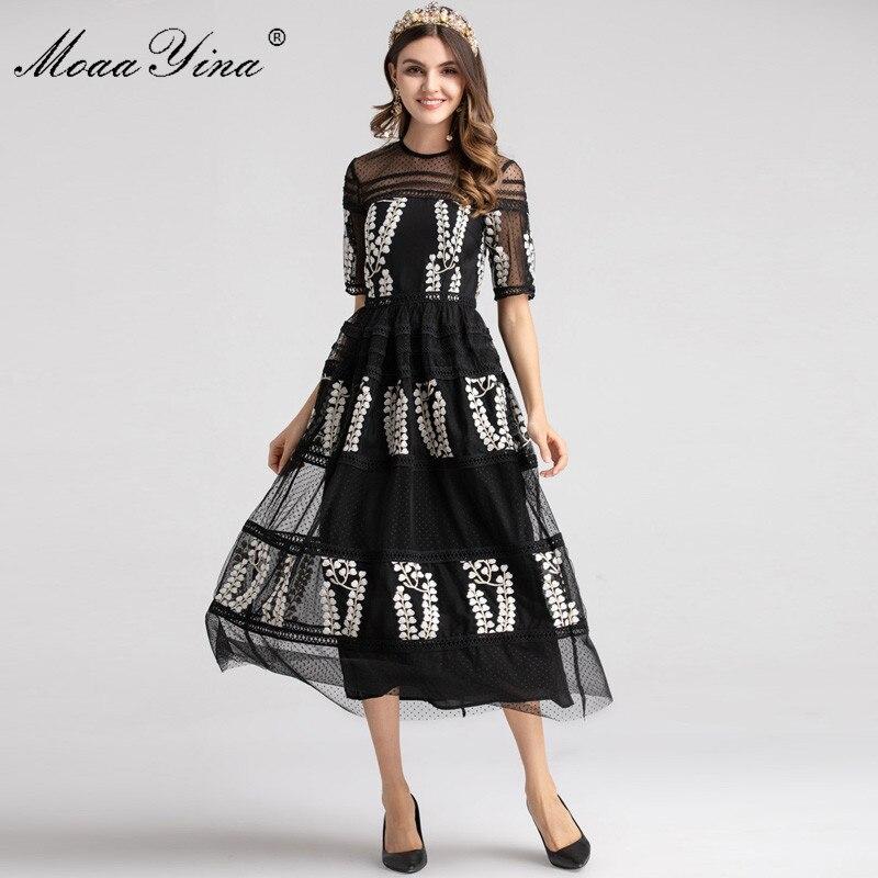 MoaaYina Fashion Designer Runway dress Spring Women Dress Half sleeve Mesh Embroidery Floral Black Elegant Ball Gown Dresses