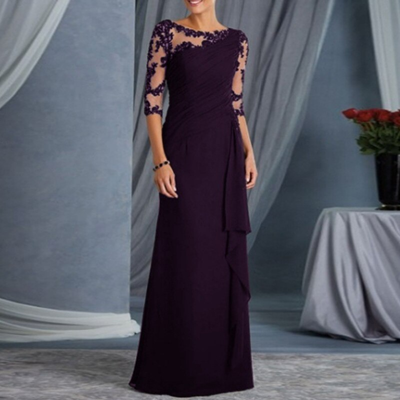 Women fashion Dress Lace Half Sleeves Round Neck Slim Fit Female Formal Gown H9 2