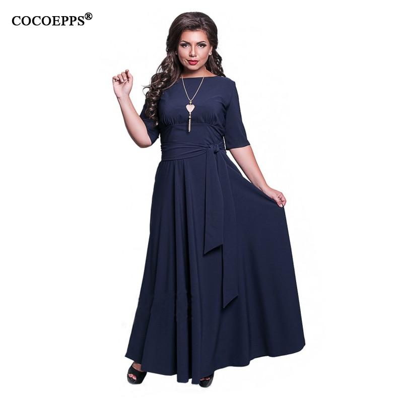 19 Autumn 5XL 6XL Plus Size Women Dress Big Size Winter Long Dress Belt Maxi dress Half Sleeve Elegant Evening Party Vestidos 3