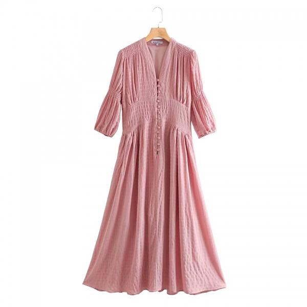 Women Summer Vintage Solid Dress Half Sleeve Buttons High Waist V-Neck Dresses Female Elegant A-Line Dress vestidos Clothing