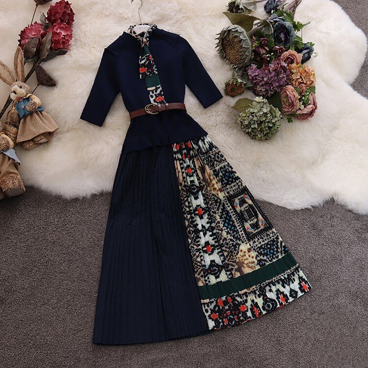 Trendy Women Round Collar with Scarf Decoration Patchwork Knotted Cotton Chiffon Pleated Half Sleeve Dress 3