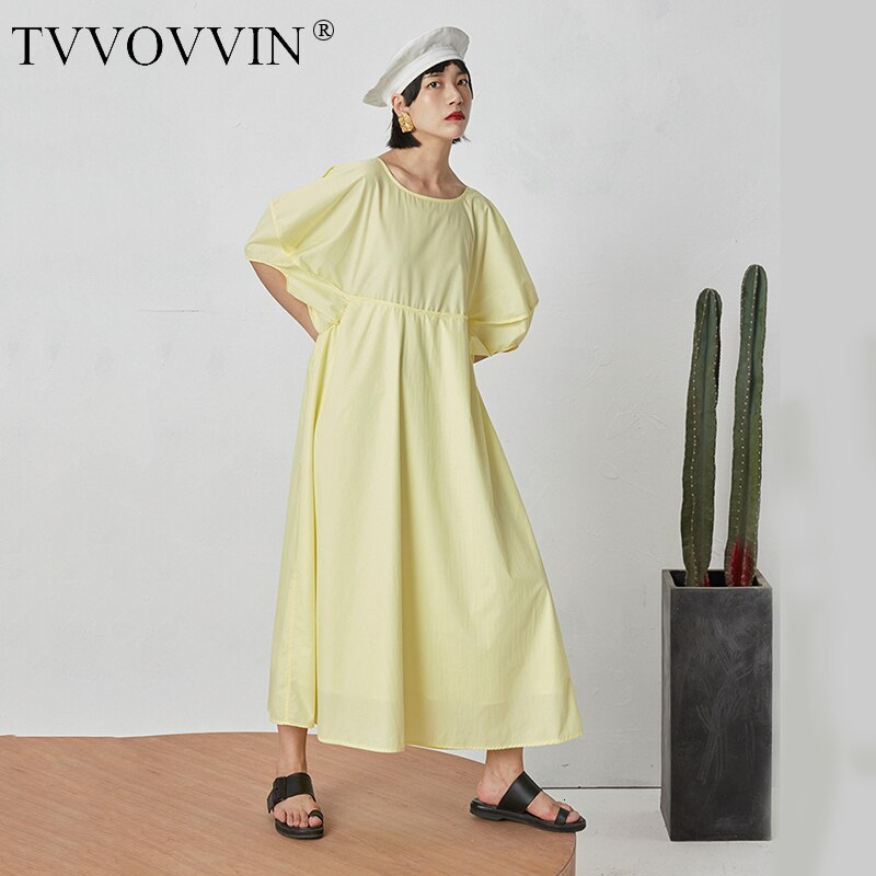 TVVOVVIN 19 New Spring Summer Round Neck Half Lantern Sleeve Yellow Hollow Out Loose Drawstring Dress Women Fashion Tide D113