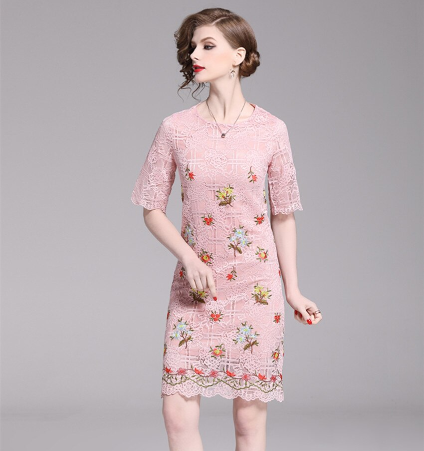 HAMALIEL Pink Lace Floral Pencil Fashion Dress Summer Women Embroidery Half Sleeve Bodycon Slim Dress Elegant Hollow Out Dress 1