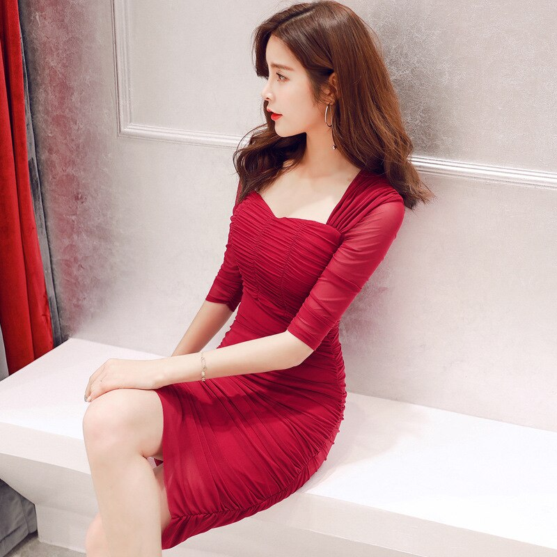 Summer Club Dresses Square Collar Half Sleeve Draped High-end Women Dress Office Lady Sexy Party Vintage Bandage Bodycon Dress 3