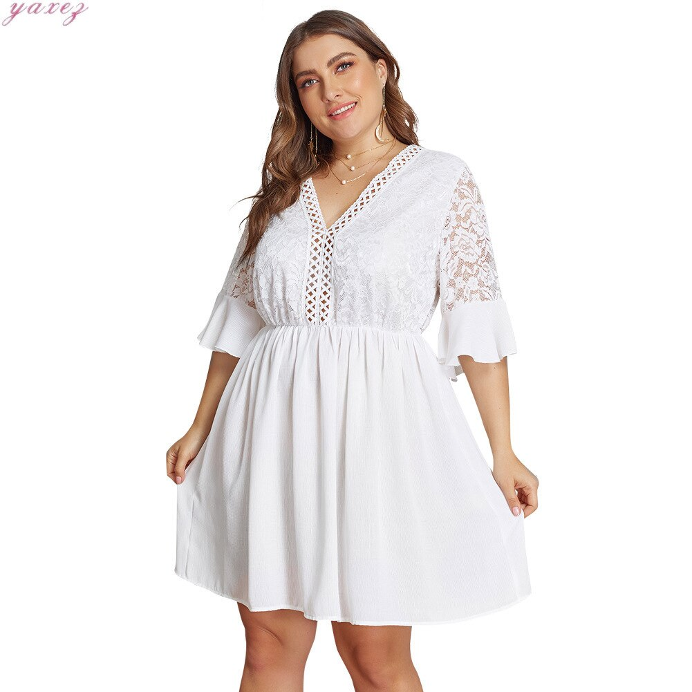 XL-4XL Big Size Lace Half Sleeve Dress Women Casual Solid White Beach Dress 19 Summer Sexy V-neck Hollow Out Mini Dresses 1