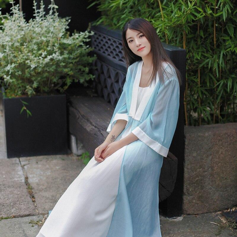 19 Autumn Chinese Retro Style Big V Collar Women White Blue Straight Dress Tea Suit Half Flare Sleeve Loose Dress Hanfu 3