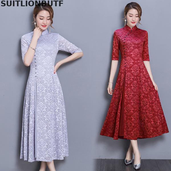 3xl Floral Cheongsam Dress Chinese Style Half Sleeve Retro Dress 19 Spring Autumn Slim Female Sheer Dress Vintage Women Dress 1