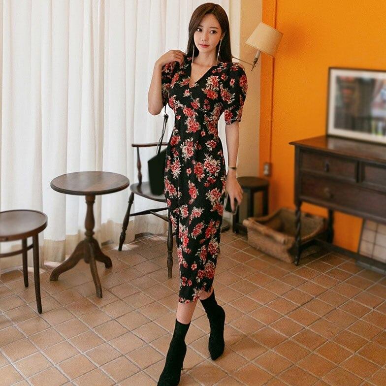 Summer Women Floral Print Dress Half Sleeve Pencil Bodycon Dress Office Lady Ladies V Neck Office Dress 3