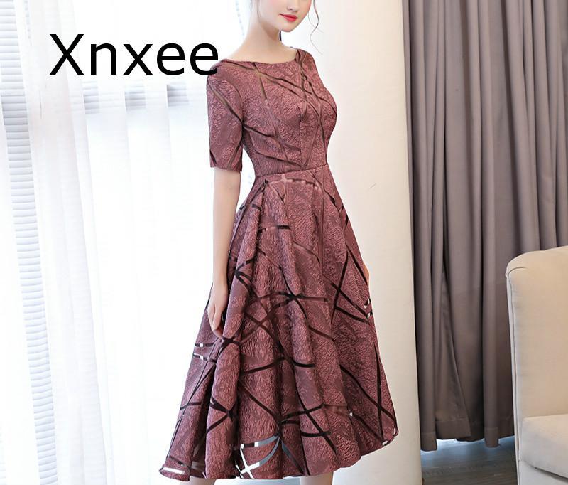 Xnxee Luxury O-Neck Half Sleeve Embroidery Zipper Dresses A-line Tea Length Formal Dress Vestido de novia 2