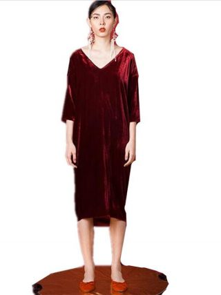 19 Women Autumn half sleeve long dress sexy deep V-neck Velvet straight dress plus size velour dress L-6XL