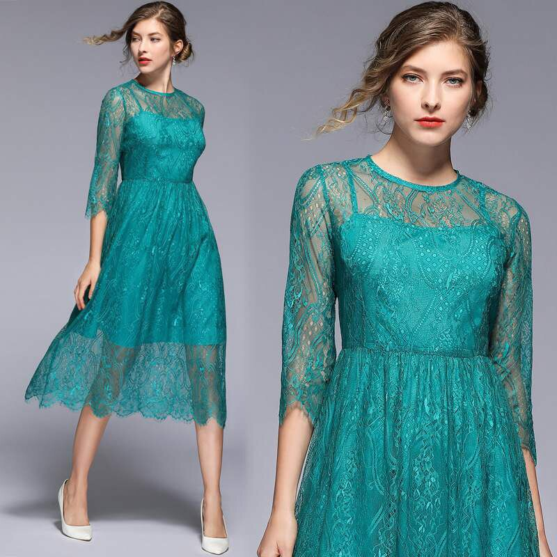 Trytree 19 Summer Autumn Casual Lace Dress Geometric embroidery women Half sleeve dresses Knee-Length A-line Office Lady Dress 2