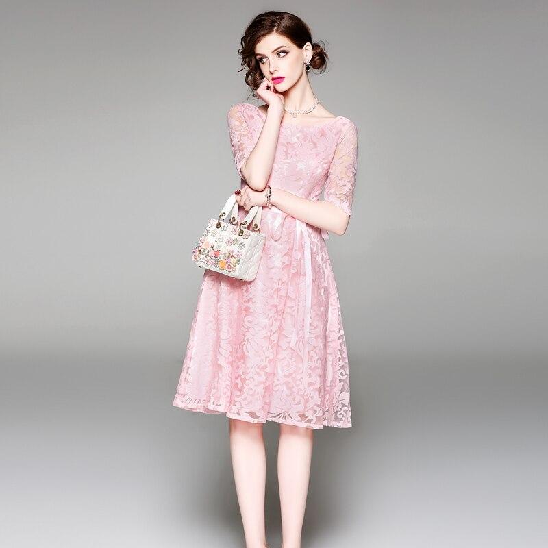 HAMALIEL Women Pink Party Dress 18 Summer Mesh Embroidery Hollow Out Half Sleeve Female Vianteg Slim Tie Bow Dress Vestidos 3