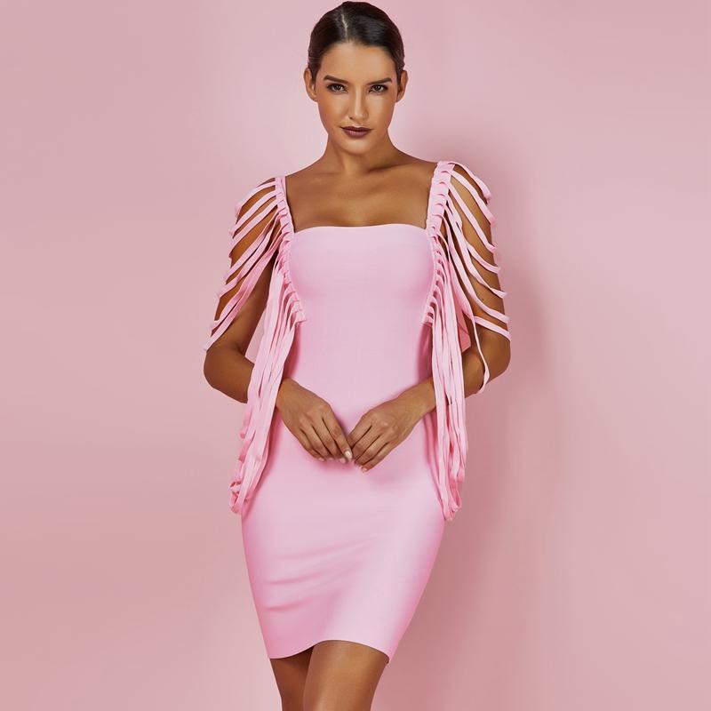 Sexy Women Dress Bandage Bodycon 19 New Summer Pink Fringe Detailed Cap Sleeve Woman Bandage Party Mini Dress XL 3