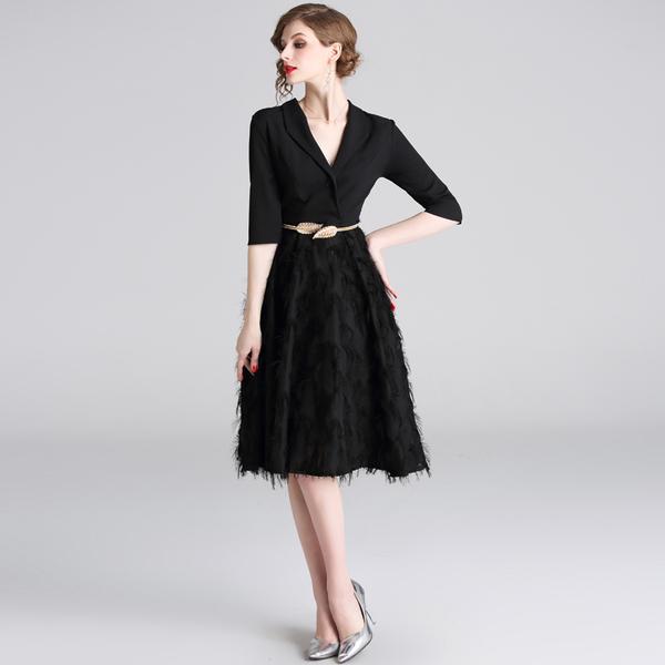 Feathers Patchwork Black A-line Office Dress 19 Spring Women Half Sleeve Notched Formal Dress Female Tassel Dress With Belt 3