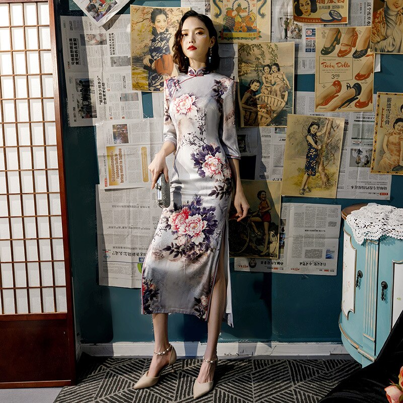 New Arrival Plus Size 4XL Autumn Winter Vintage Half Sleeve Cheongsam Sexy Women Formal Long Dress Print Flower Rayon Qipao